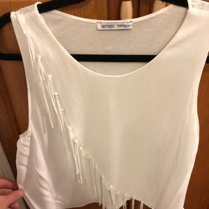 Zara cross over white tank top with fringe- Size L